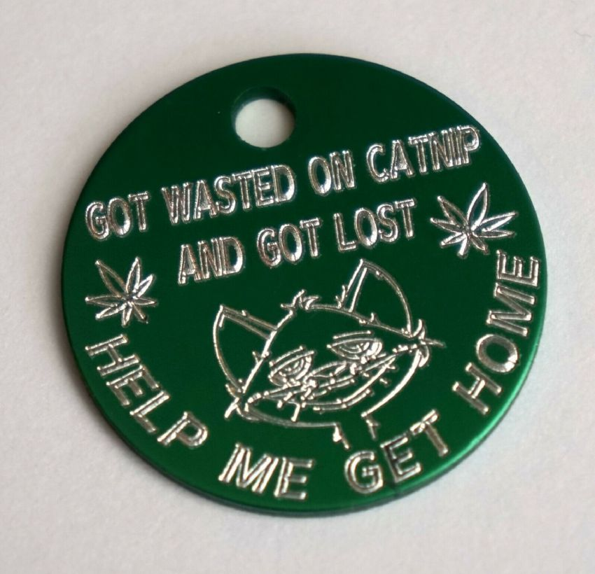 25MM PERSONALISED GREEN CAT ID TAG GOT WASTED ON CATNIP AND GOT LOST GET ME HOME